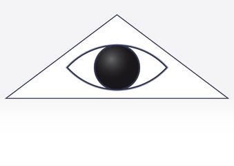 White masonic symbol of the eye in the triangle. God's Eye