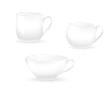 Collection of various white coffee cups isolated on white background