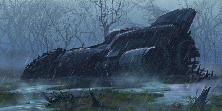 Crashed Spaceship in the Wet Land. Fiction Backdrop. Concept Art. Realistic Illustration. Video Game Digital CG Artwork. Nature Scenery.