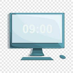 Desktop computer icon. Cartoon of desktop computer vector icon for web design