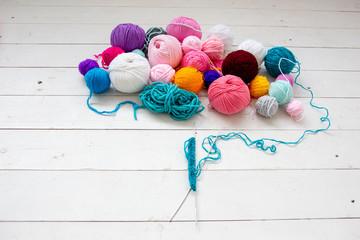 Colorful balls of knitting yarn. Color yarn for knitting