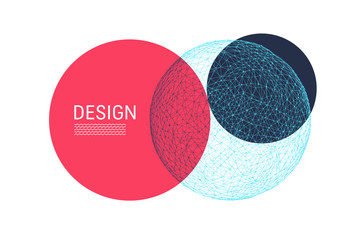 Trendy abstract sphere. Modern science or technology illustration. Vector composition for covers, posters, flyers and banner designs.