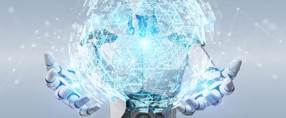 White robot using digital triangle exploding sphere hologram 3D rendering