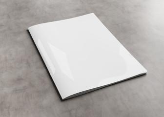 White magazine cover mockup on concrete 3d rendering