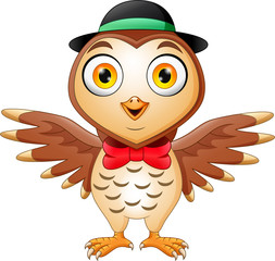 Cute owl cartoon wearing hat and red bow
