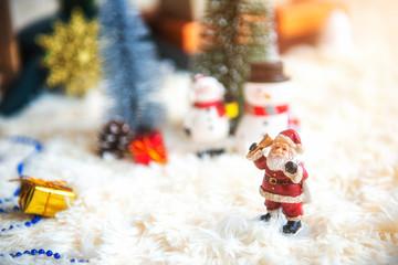 Christmas decoration - Santa Claus with snowman figurine