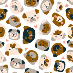 Cute vector seamless pattern with heads of dogs isolated on the white background. Funny pugs fabric design.