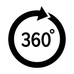 Rotate 360 degrees circular arrow flat vector icon for apps and websites