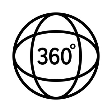 360 degree video or view 360 degrees in virtual reality line art vector icon for apps and websites