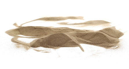 Desert sand pile, dune isolated on white background and texture, with clipping path