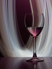 Wine glass in the club light night on weekends and holidays