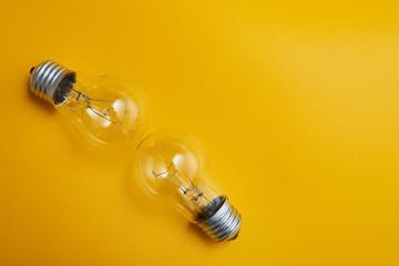 light bulb on yellowbackground