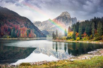 Lake Obersee autumn morning Wall mural