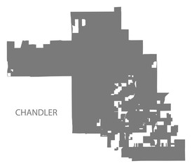 Chandler Arizona city map grey illustration silhouette