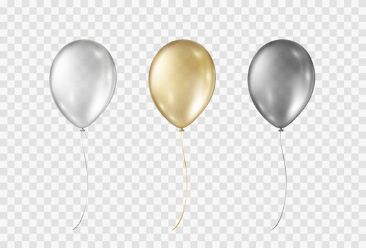 Balloons isolated on transparent background.  Vector realistic gold, silver, black festive 3d helium ballons mockup for anniversary, birthday party design.