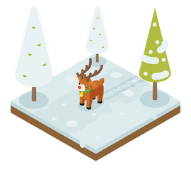 Cartoon deer walking winter wood forest isometric 3d flat design vector illustration