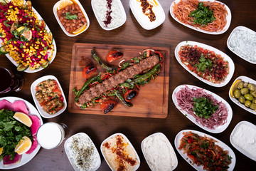 Traditional Turkish Kitchen Food Adana Kebab Set