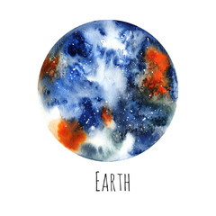 Planet Earth. Watercolor illustration on white isolated background