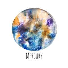 Planet Mercury. Watercolor illustration on white isolated background