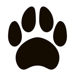 black silhouette  dog footprint, vector
