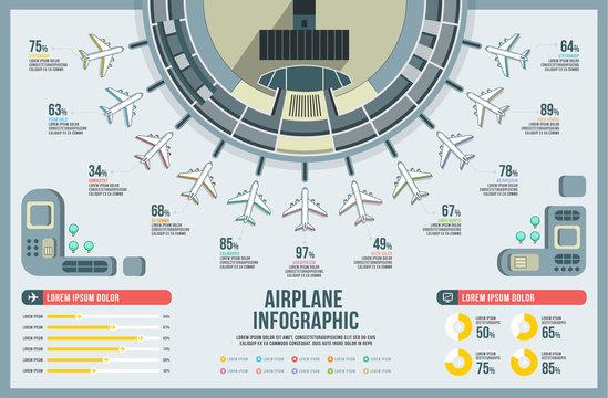 Airplane infographic set vector, design building, icon graphic transport, airline chart modern, landscape, airport presentation diagram.