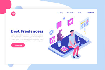 Freelancers service isometric concept with text place. Landing page template.
