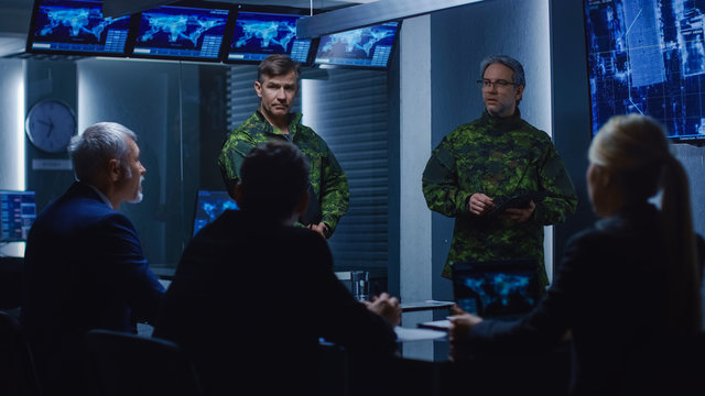 High-Ranking Military Men holds a Briefing to a Team of Government Agents and Politicians, Shows Footage of Satellite Following Target Car Surveillance.