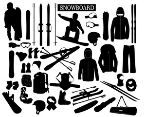 A set of clothing and accessories for snowboarding and skiing