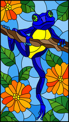 Illustration in stained glass style with bright blue frog on plant branches background with orange flowers and leaves  on sky background