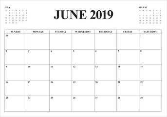 June 2019 desk calendar vector illustration