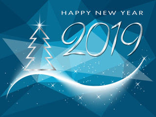 Happy New Year 2019 winter holiday greeting card with Christmas tree