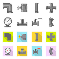 Isolated object of pipe and tube icon. Set of pipe and pipeline stock symbol for web.