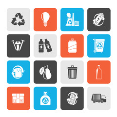 Garbage and Recycling Icons - vector icon set