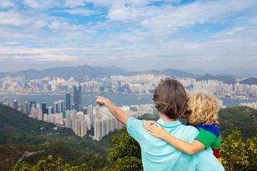 Family hiking in Hong Kong mountains
