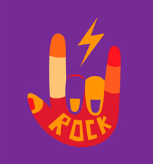 Rock and Roll hand sign. Cartoon illustration