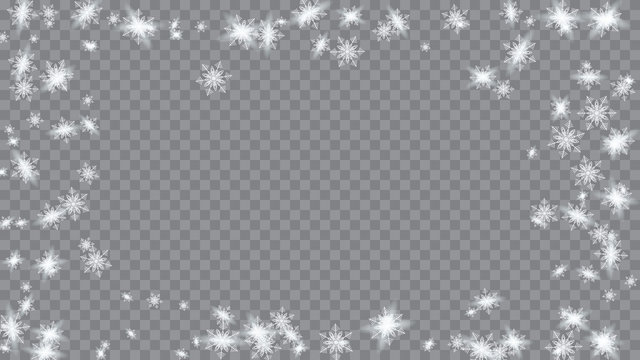 Falling snow background. Bbright, White, Shimmer, Glowing, Scatter, Falling on a Transparent background. Holiday decoration Christmas banner.