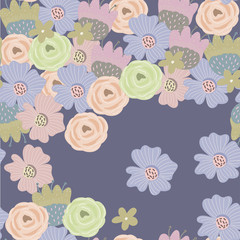 Hand drawn flower burgeons. Colored vector seamless pattern. Navy background
