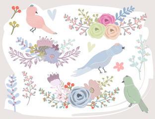 Beautiful bouquet of flowers and cute birds. Colored vector set. All elements are isolated