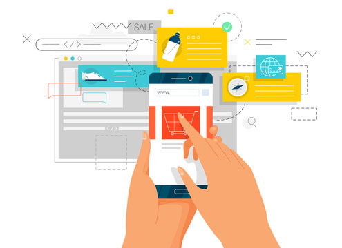 Online shopping. Hands holding mobile phone. Concept flat style vector design illustrations.