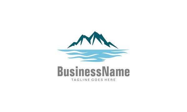 Mountain lake logo - iceberg icon vector