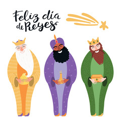 Foto auf Leinwand Abbildungen Hand drawn vector illustration of three kings with gifts, Spanish quote Feliz Dia de Reyes, Happy Kings Day. Isolated objects on white. Flat style design. Concept, element for Epiphany card, banner.