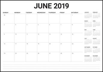 June 2019 desk calendar vector illustration