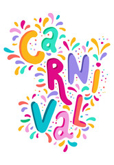 Bright colorful vector handwritten lettering text. Popular Event in Brazil. Carnival Title With Colorful Party Elements.