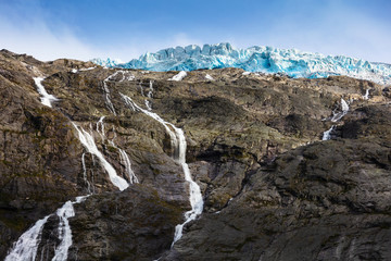 Briksdal glacier, waterfall, Norway