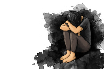 illustration of sad woman hug her knee and cry with copy space