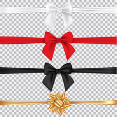 Realistic set of multicolored bows isolated on transparent background. Template for greeting card, poster or brochure. Vector illustration.