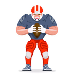 American football rugby player character aggressive sport isolated cartoon design vector illustration