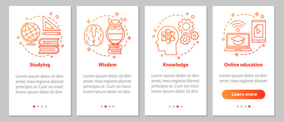 Gaining knowledge onboarding mobile app page screen with linear