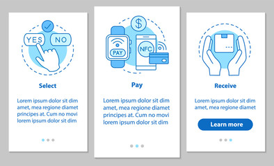 Online shopping onboarding mobile app page screen with linear co