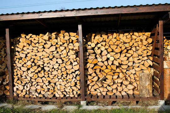 Woodshed with cutten wood